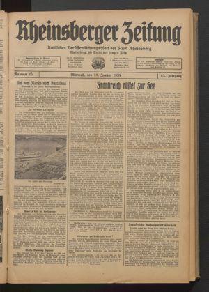 Rheinsberger Zeitung vom 18.01.1939