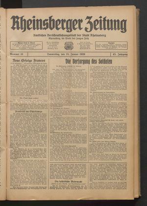 Rheinsberger Zeitung vom 19.01.1939