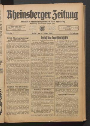 Rheinsberger Zeitung vom 20.01.1939