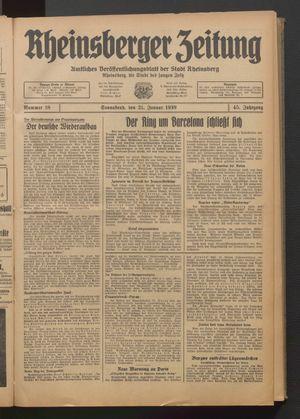 Rheinsberger Zeitung vom 21.01.1939