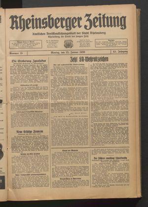 Rheinsberger Zeitung vom 23.01.1939