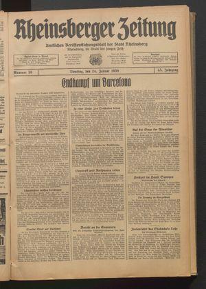 Rheinsberger Zeitung vom 24.01.1939