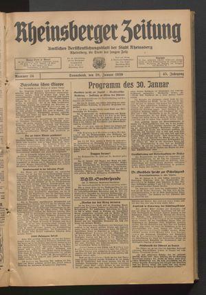 Rheinsberger Zeitung vom 28.01.1939