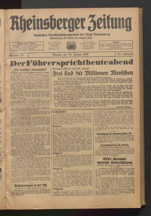 Rheinsberger Zeitung vom 30.01.1939