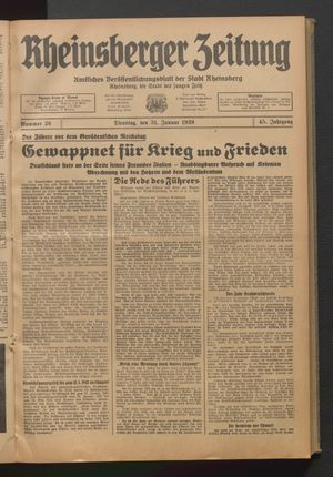 Rheinsberger Zeitung vom 31.01.1939