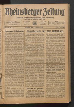 Rheinsberger Zeitung vom 01.02.1939