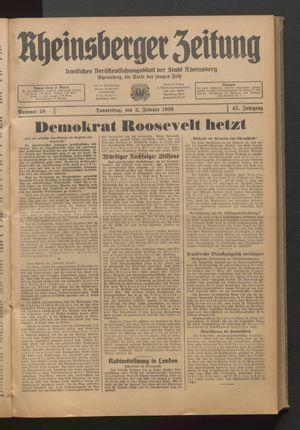 Rheinsberger Zeitung vom 02.02.1939