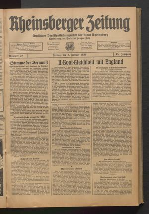 Rheinsberger Zeitung on Feb 3, 1939