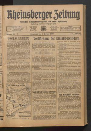 Rheinsberger Zeitung vom 04.02.1939