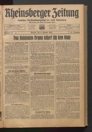 Rheinsberger Zeitung vom 06.02.1939