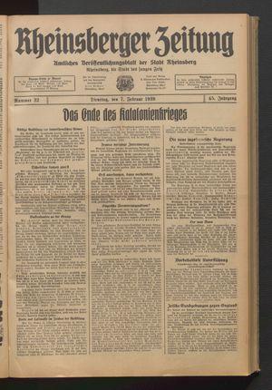 Rheinsberger Zeitung vom 07.02.1939