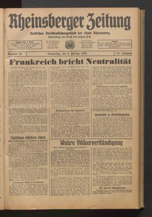 Rheinsberger Zeitung vom 09.02.1939