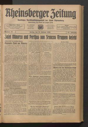 Rheinsberger Zeitung vom 10.02.1939