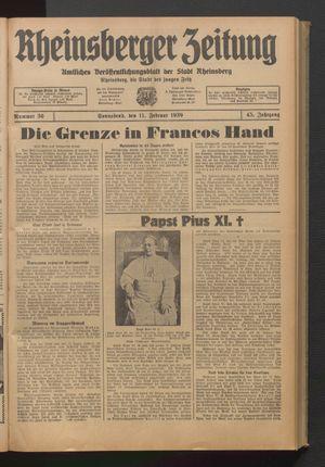 Rheinsberger Zeitung vom 11.02.1939