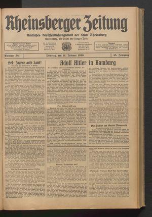Rheinsberger Zeitung vom 14.02.1939
