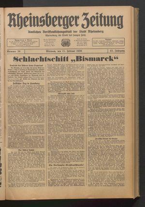 Rheinsberger Zeitung vom 15.02.1939