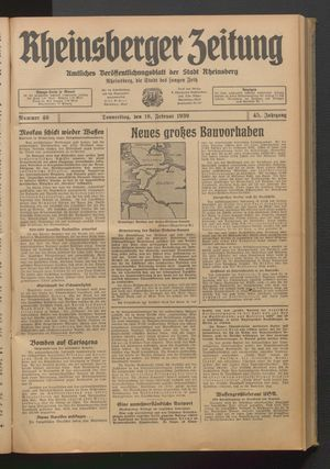 Rheinsberger Zeitung on Feb 16, 1939
