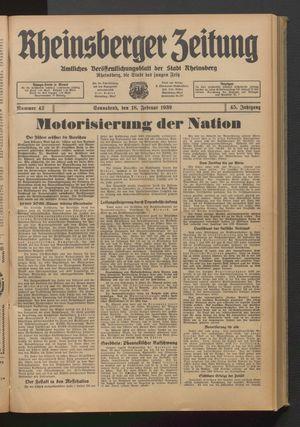 Rheinsberger Zeitung vom 18.02.1939