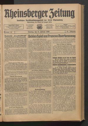 Rheinsberger Zeitung vom 21.02.1939