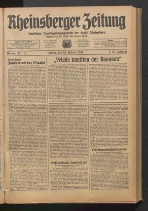 Rheinsberger Zeitung on Feb 24, 1939