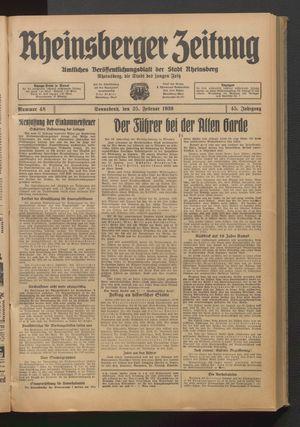 Rheinsberger Zeitung vom 25.02.1939