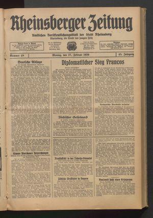 Rheinsberger Zeitung vom 27.02.1939