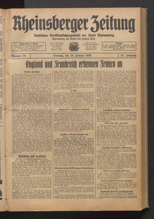 Rheinsberger Zeitung vom 28.02.1939