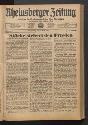 Rheinsberger Zeitung vom 02.03.1939