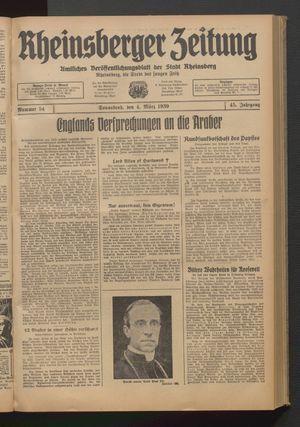 Rheinsberger Zeitung vom 04.03.1939