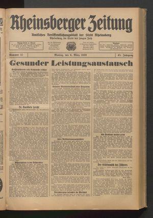 Rheinsberger Zeitung vom 06.03.1939