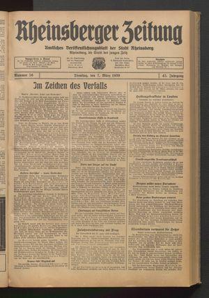 Rheinsberger Zeitung on Mar 7, 1939