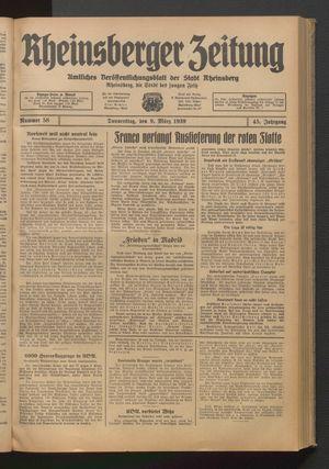Rheinsberger Zeitung vom 09.03.1939