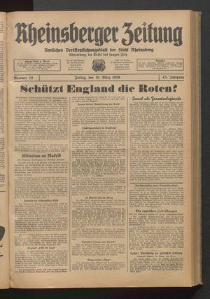 Rheinsberger Zeitung vom 10.03.1939