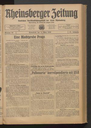 Rheinsberger Zeitung vom 11.03.1939