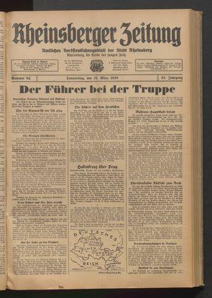 Rheinsberger Zeitung vom 16.03.1939