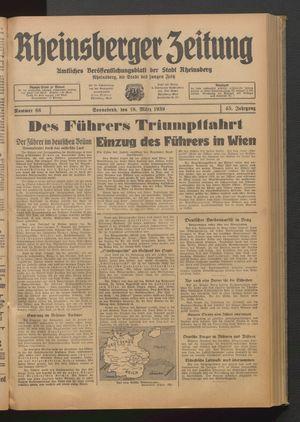 Rheinsberger Zeitung vom 18.03.1939