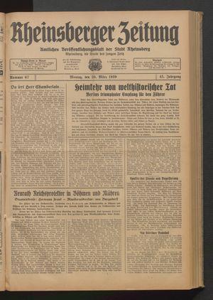Rheinsberger Zeitung vom 20.03.1939