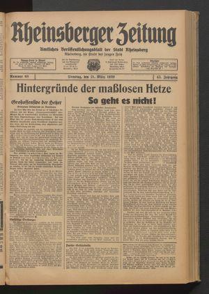 Rheinsberger Zeitung vom 21.03.1939