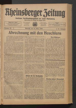 Rheinsberger Zeitung vom 22.03.1939