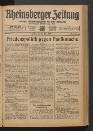 Rheinsberger Zeitung vom 24.03.1939