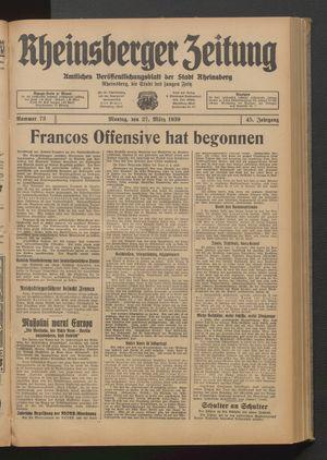 Rheinsberger Zeitung vom 27.03.1939