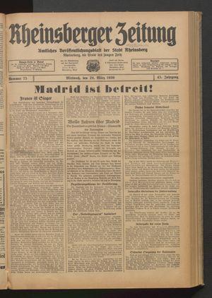 Rheinsberger Zeitung vom 29.03.1939