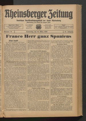 Rheinsberger Zeitung vom 30.03.1939