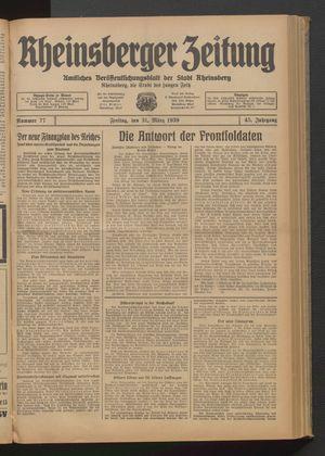 Rheinsberger Zeitung vom 31.03.1939