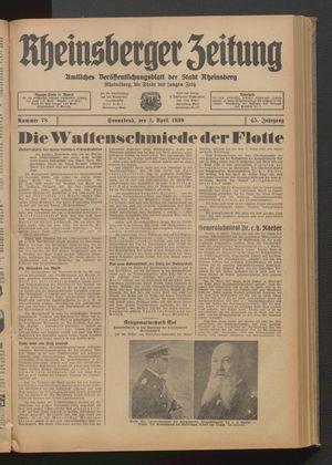 Rheinsberger Zeitung vom 01.04.1939
