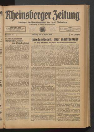 Rheinsberger Zeitung vom 02.04.1939