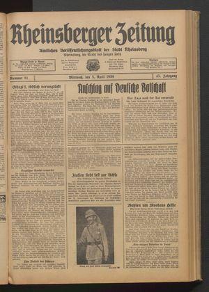 Rheinsberger Zeitung vom 05.04.1939