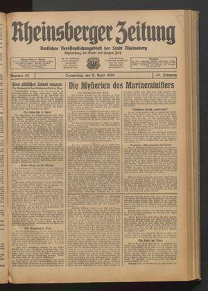 Rheinsberger Zeitung vom 06.04.1939