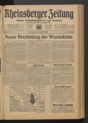 Rheinsberger Zeitung vom 11.04.1939