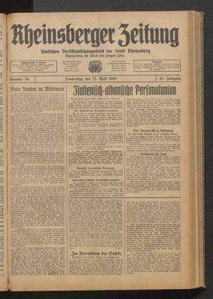 Rheinsberger Zeitung vom 13.04.1939